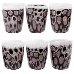 Set of 6 Artistic Handmade Glasses Murano White Black White Glass by Multiforme