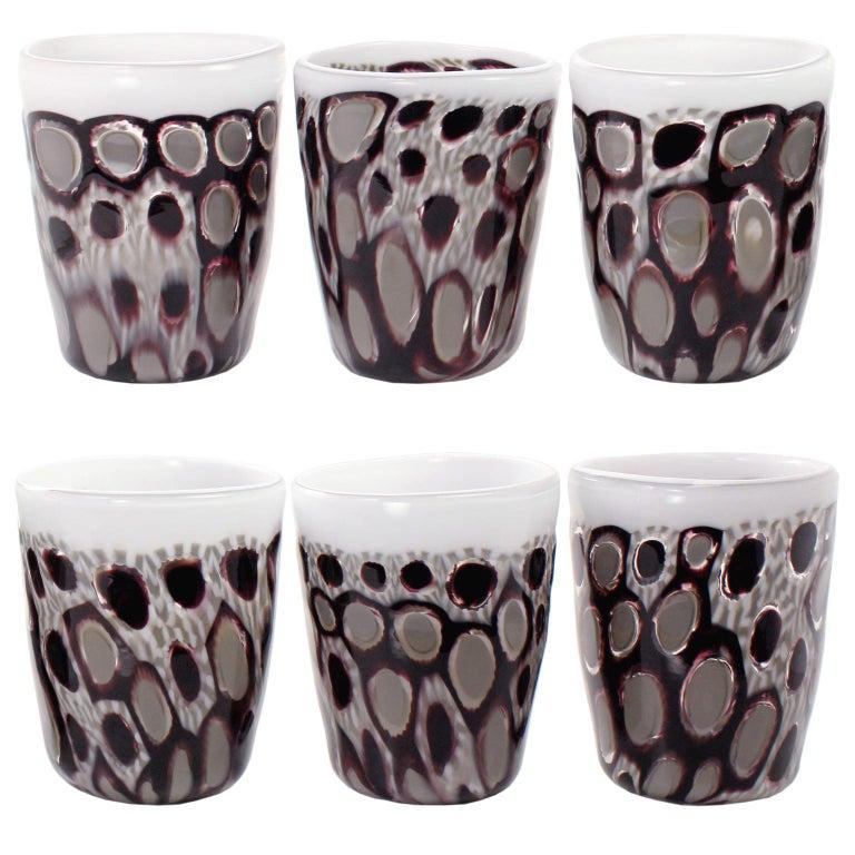 Set of 6 Artistic Handmade Glasses Murano White Black White Glass by Multiforme For Sale