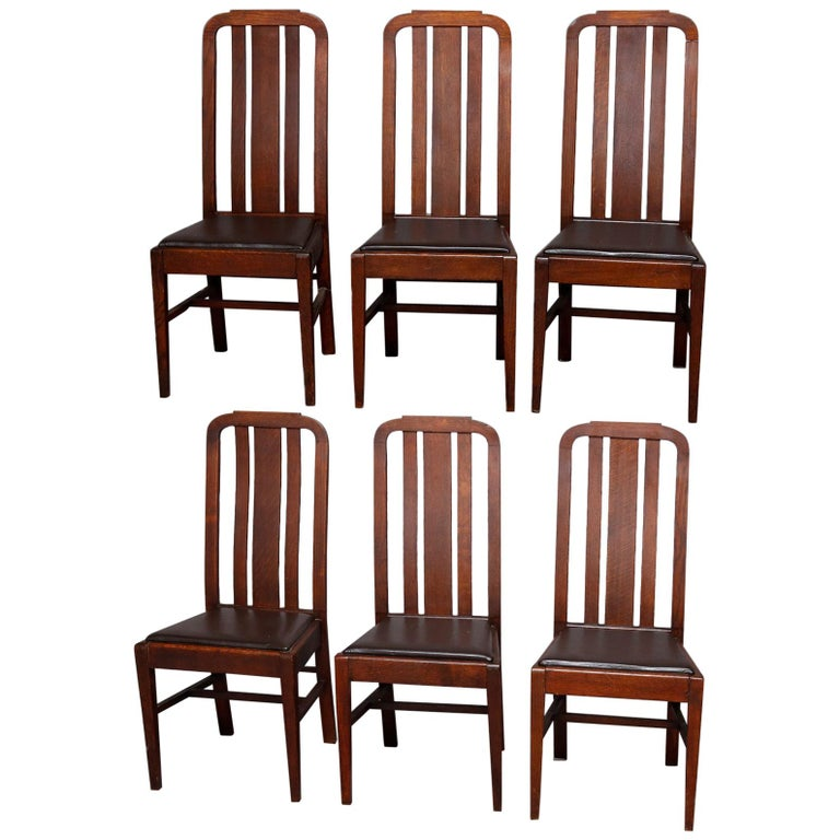 Set of 6 Arts & Crafts Mission Oak Splat Back Tall Dining Room Chairs, NY