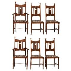 Set of (6) Arts & Crafts Oak Dining Chairs, England, circa 1900