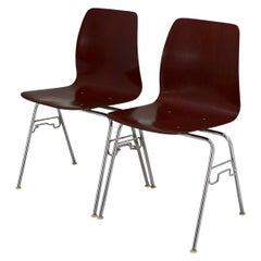 Set of 6 Available Pagholz Rosewood Tandem Stacking Chairs