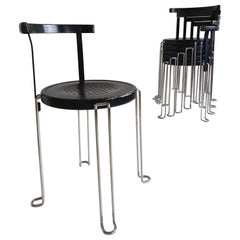 Set of 6 'B4' Stacking Chairs by Börge Lindau & Bo Lindekrantz for Bla Station