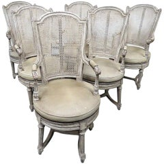 Set of 6 Baker Swiveling French Louis XV Style Painted Dining Room Armchairs