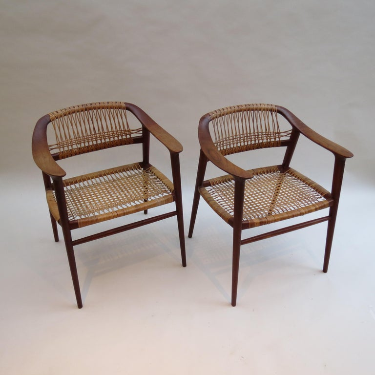 Mid-Century Modern Set of 6 Bambi Dining Chairs by Rolf Rastad and Adolf Relling Norway For Sale