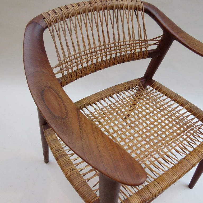 Caning Set of 6 Bambi Dining Chairs by Rolf Rastad and Adolf Relling Norway For Sale