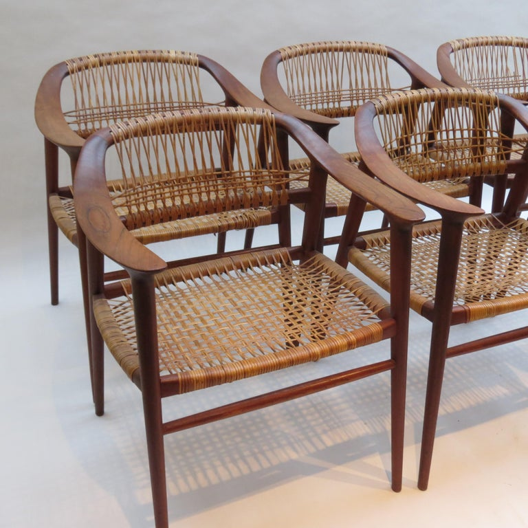 Mid-20th Century Set of 6 Bambi Dining Chairs by Rolf Rastad and Adolf Relling Norway For Sale