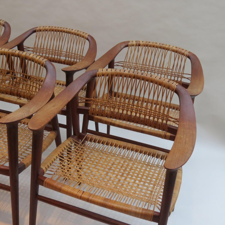 Teak Set of 6 Bambi Dining Chairs by Rolf Rastad and Adolf Relling Norway For Sale