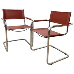 Set of 6 Bauhaus Leather and Chrome Cantilever Chair Inspired by Mart Stam