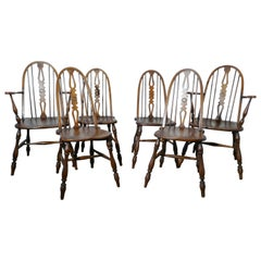 Set of 6 Beech and Elm Arts & Crafts High Back English Windsor Chairs