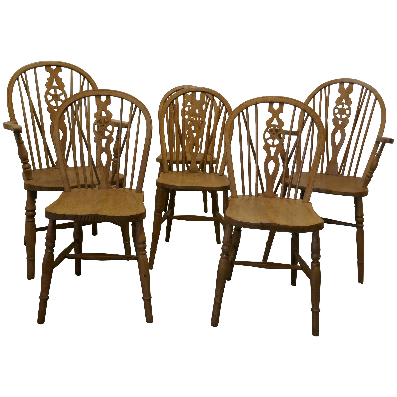 Set of 6 Beech & Elm Wheel Back Windsor Kitchen Dining Chairs