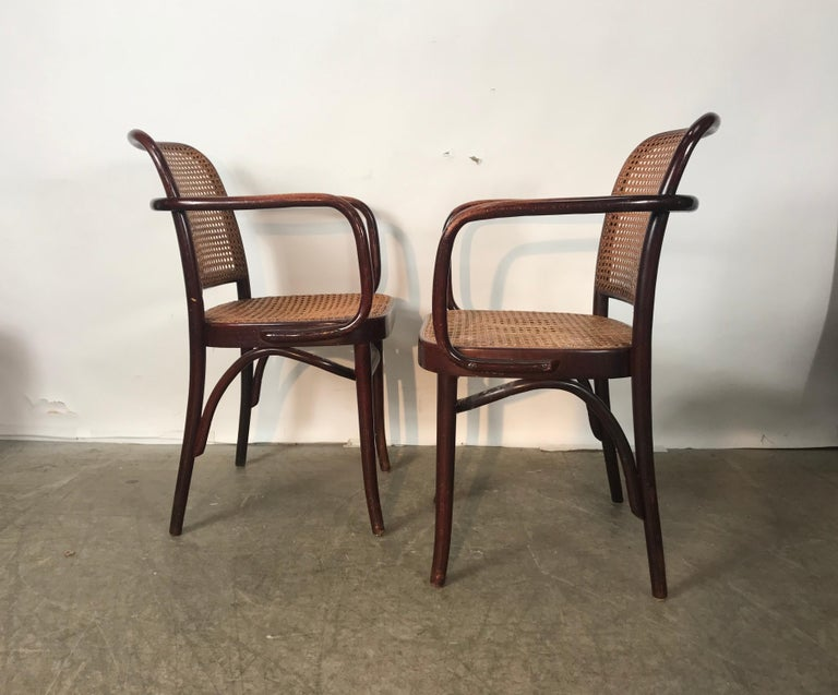 Bauhaus Set of 6 Bentwood and Cane Armchairs