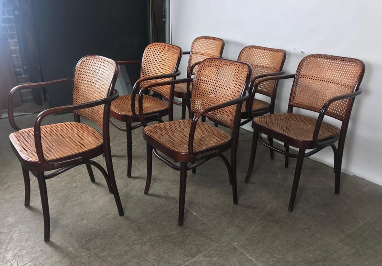 Late 20th Century Set of 6 Bentwood and Cane Armchairs