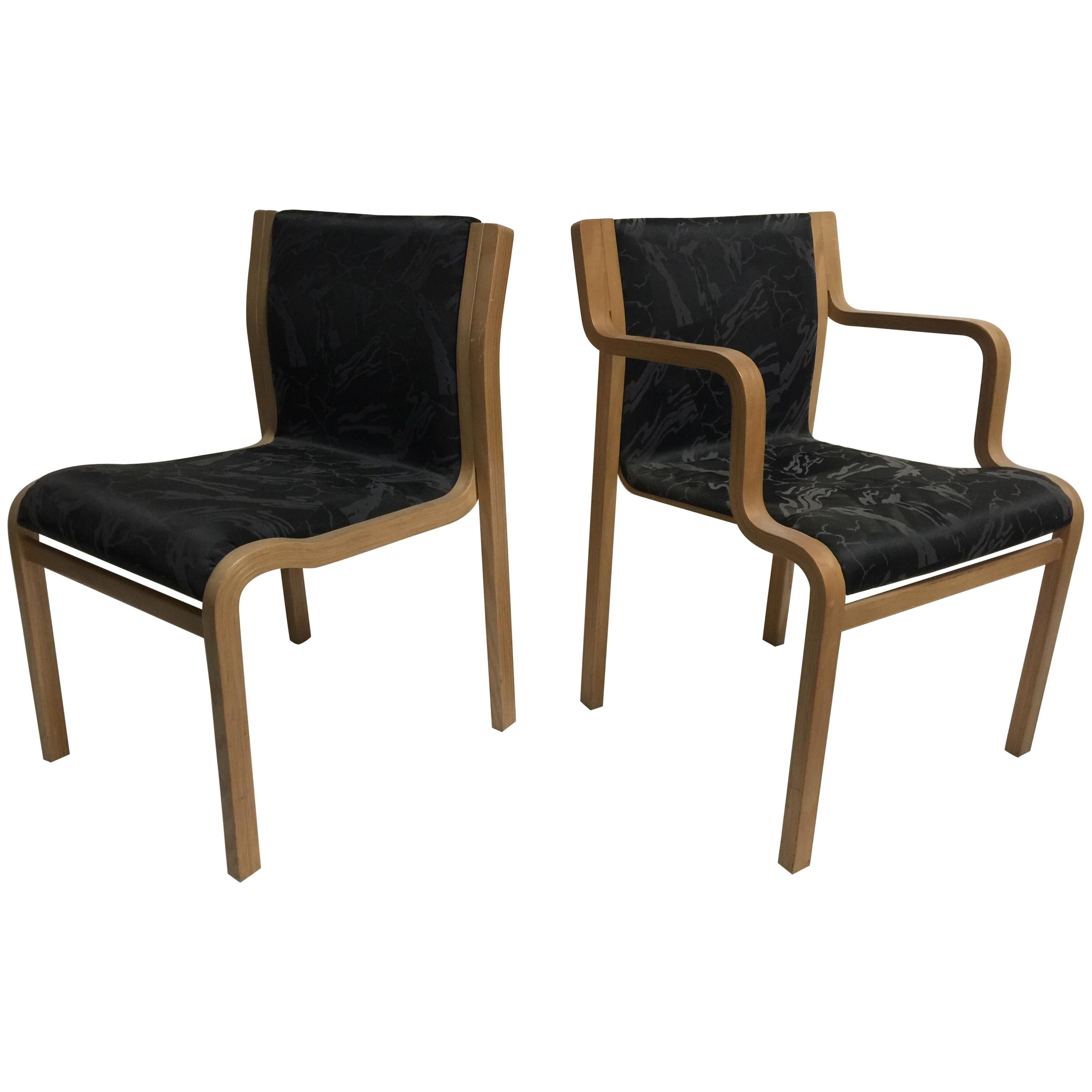 Set of 6 Bentwood Chairs by Bill Stephen for Knoll, 4 Sides, 2 Arms
