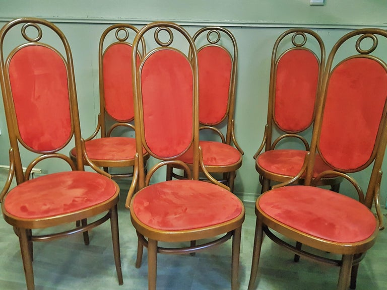 Arts and Crafts Set of 6 Bentwood Higgh Back Dining Chairs by Thonet, Germany For Sale