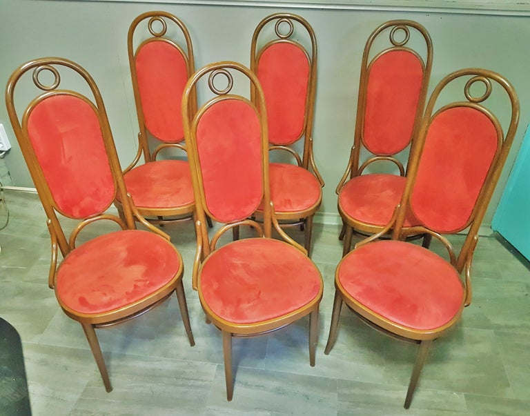 Set of 6 Bentwood Higgh Back Dining Chairs by Thonet, Germany In Good Condition For Sale In Saarbruecken, DE