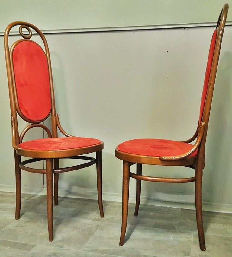 Set of 6 Bentwood Higgh Back Dining Chairs by Thonet, Germany For Sale 1