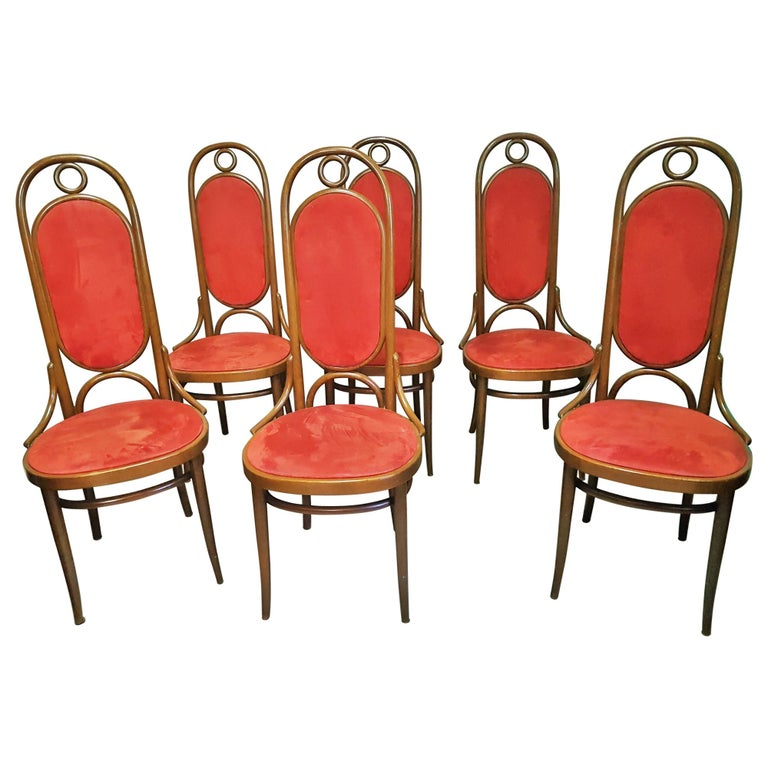 Set of 6 Bentwood Higgh Back Dining Chairs by Thonet, Germany For Sale