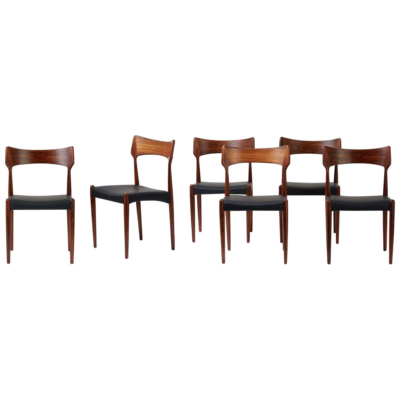 Set of 6 Bernard Petersen Rosewood Dining Chairs, circa 1960