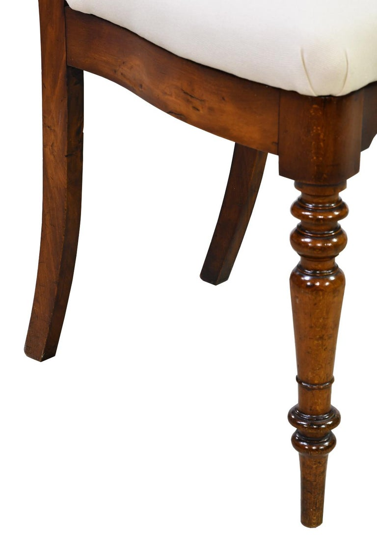 Set of 6 Biedermeier Mahogany Dining Chairs with Upholstered Seat, circa 1830 For Sale 3