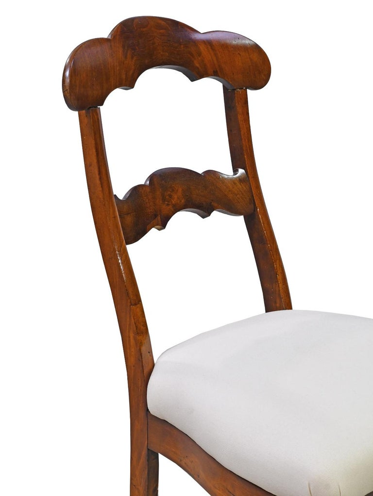 Set of 6 Biedermeier Mahogany Dining Chairs with Upholstered Seat, circa 1830 For Sale 4