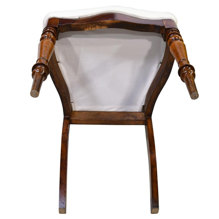 Set of 6 Biedermeier Mahogany Dining Chairs with Upholstered Seat, circa 1830 For Sale 8