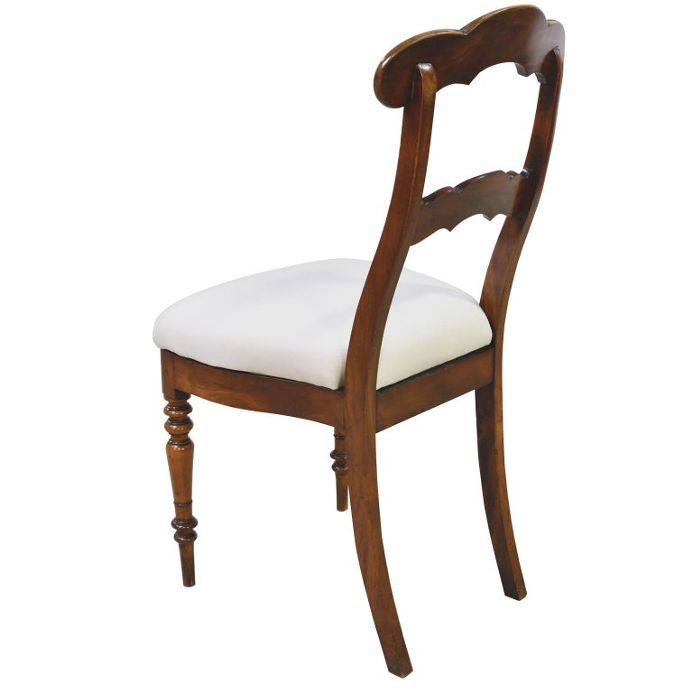 Hand-Carved Set of 6 Biedermeier Mahogany Dining Chairs with Upholstered Seat, circa 1830 For Sale