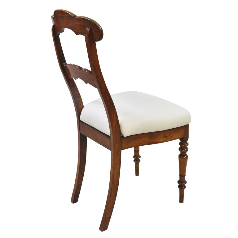 Mid-19th Century Set of 6 Biedermeier Mahogany Dining Chairs with Upholstered Seat, circa 1830 For Sale