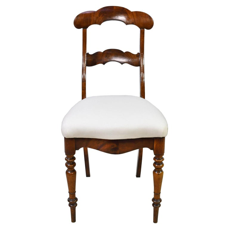 Set of 6 Biedermeier Mahogany Dining Chairs with Upholstered Seat, circa 1830 For Sale