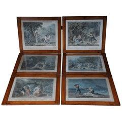 Set of 6 Biedermeier Paintings Steel Engravings, circa 1820