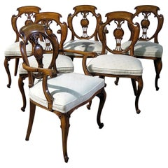 Set of 6 French Louis XV or Swedish Style Dining Chairs