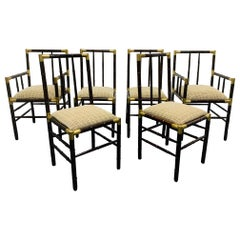 Set of 6 Billy Haines Faux Bamboo Dining Chairs