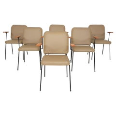 Set of 6 Bistro or Dining Chairs in Beige Leatherette, Europe, 1960s