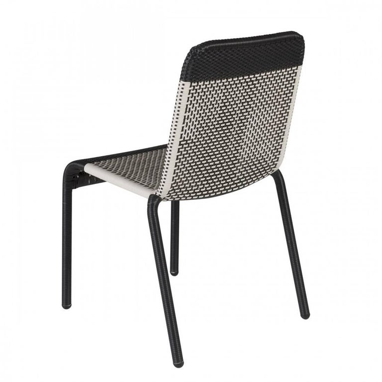 set of six black and white resin stackable chairs for sale at 1stdibs