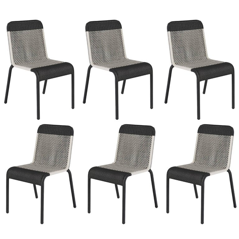 Set Of Six Black And White Resin Stackable Chairs For
