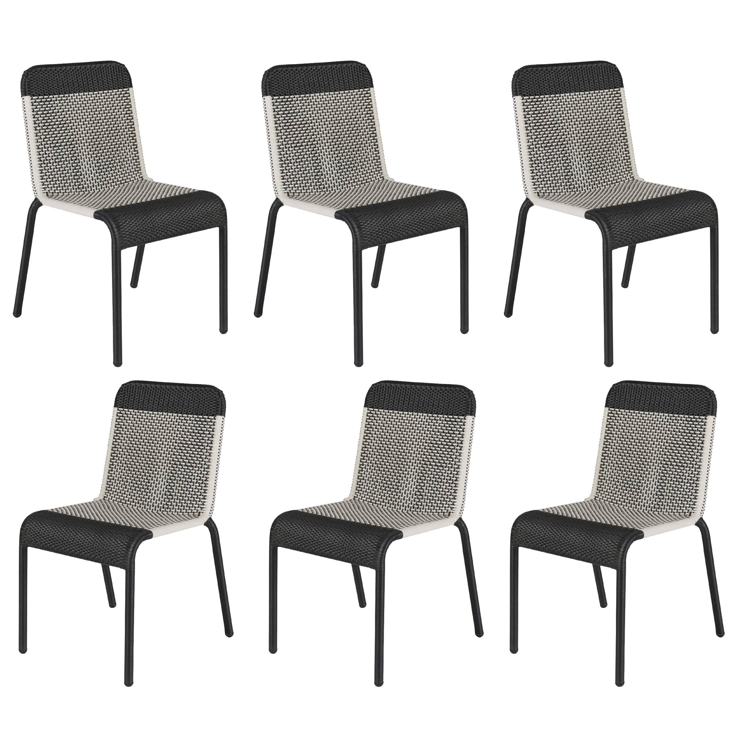 Set Of Six Black And White Resin Stackable Chairs For Sale