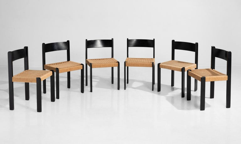 Black beechwood frames with paper cord seats.