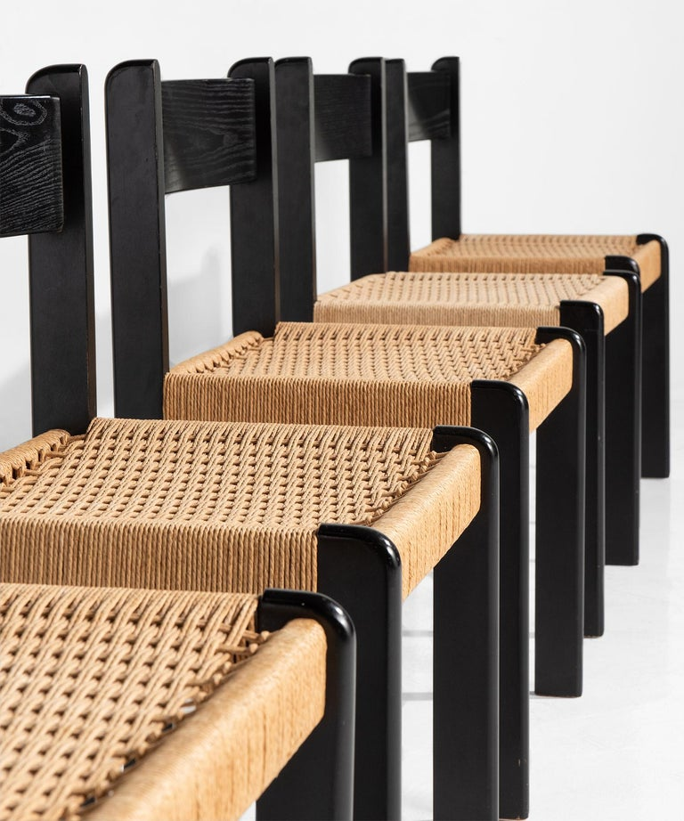 Danish Set of '6' Black Beech and Cord Dining Chairs For Sale