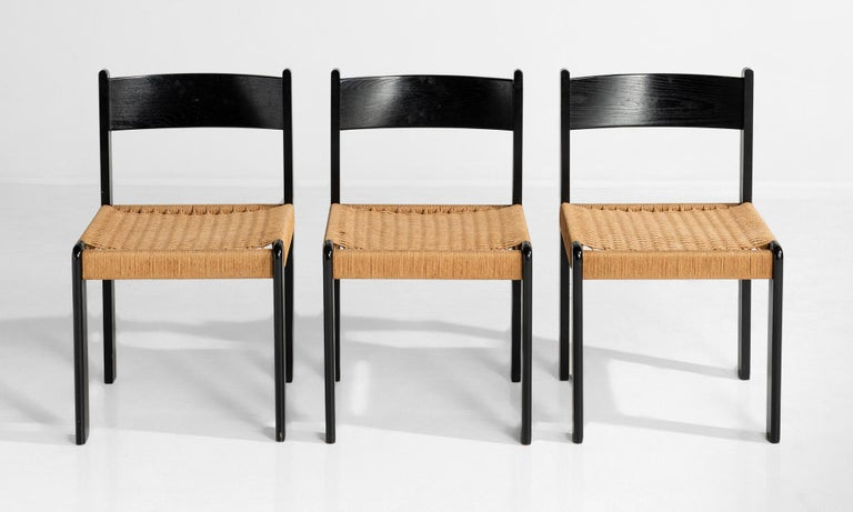 Set of '6' Black Beech and Cord Dining Chairs In Good Condition For Sale In Culver City, CA