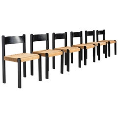 Set of '6' Black Beech and Cord Dining Chairs