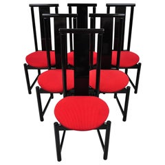 Set of 6 Black Lacquer Post Modern Memphis Style Dining Chairs Red Seat