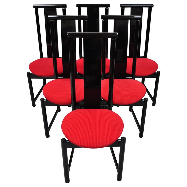 Black Lacquer Dining Room Chairs: Set Of 6 Black Lacquer Post Modern Memphis Style Dining