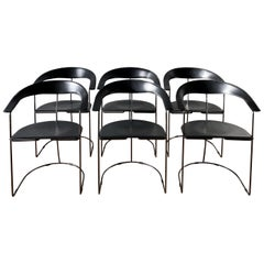 Set of 6 Black Leather Italian Dining Room Chairs, by Arrben, circa 1980s