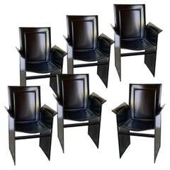 Set of 6 Black Leather Korium Dining Chairs, Tito Agnoli for Matteo Grassi