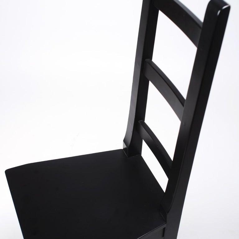 Set of 6 Black Wood Swedish Chairs Sven Larsson, 80s For Sale 5