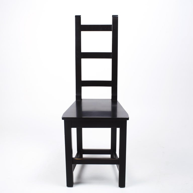 Set of 6 sculptural black wood chairs by Sven Larsson, Sweden, 1980s Very good condition, nice and slight patina.
