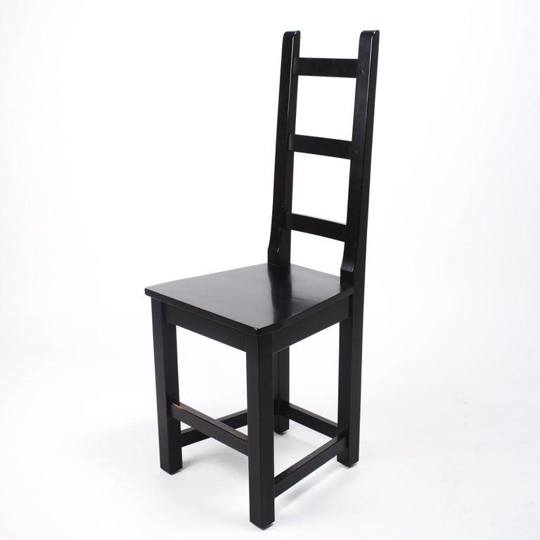 Scandinavian Modern Set of 6 Black Wood Swedish Chairs Sven Larsson, 80s For Sale