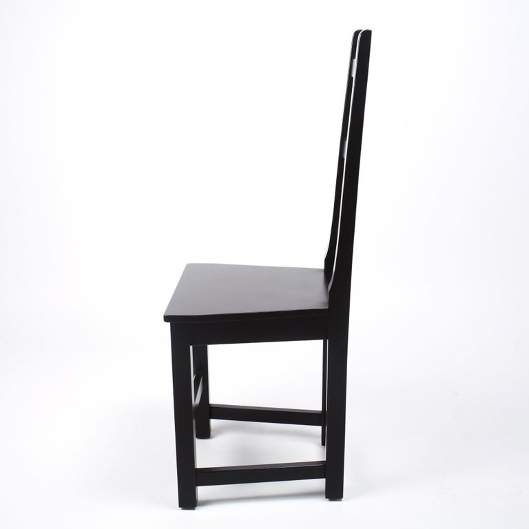 Set of 6 Black Wood Swedish Chairs Sven Larsson, 80s In Good Condition For Sale In Saint  Ouen, FR
