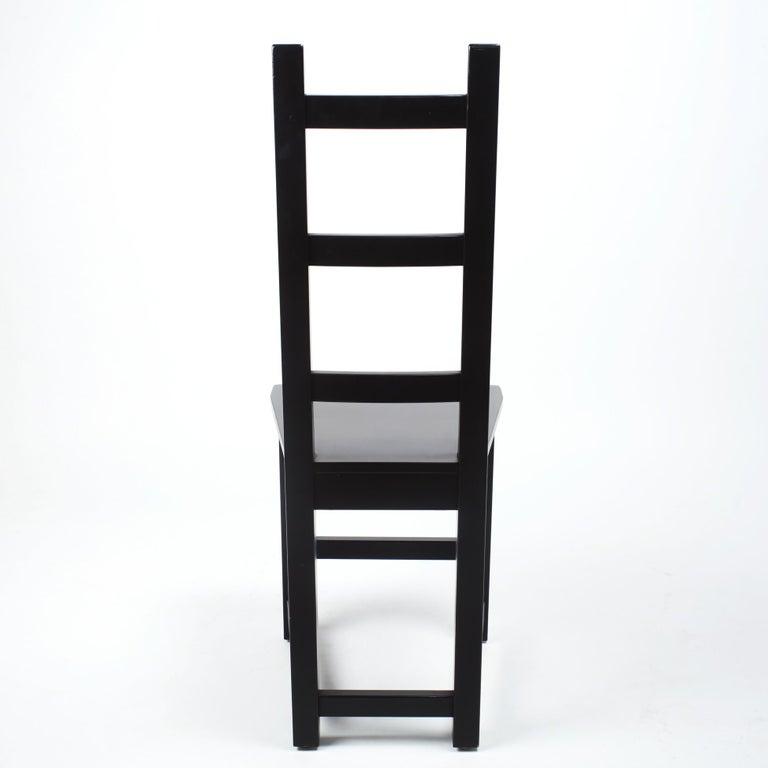 Set of 6 Black Wood Swedish Chairs Sven Larsson, 80s For Sale 1