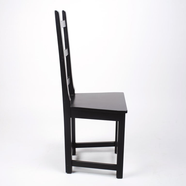 Set of 6 Black Wood Swedish Chairs Sven Larsson, 80s For Sale 3