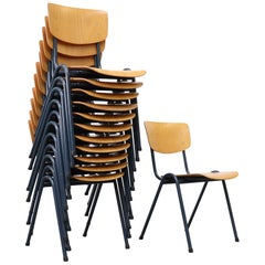 Set of 6 Blonde Plywood Industrial Stacking Chairs with Blue-Grey Enameled Metal